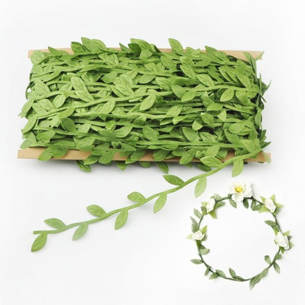 2018 40 Meters/Roll Natural Fabric Cloth Green Artificial Leaf Leaves DIY Home Party Wedding Decoration Garland Ornament