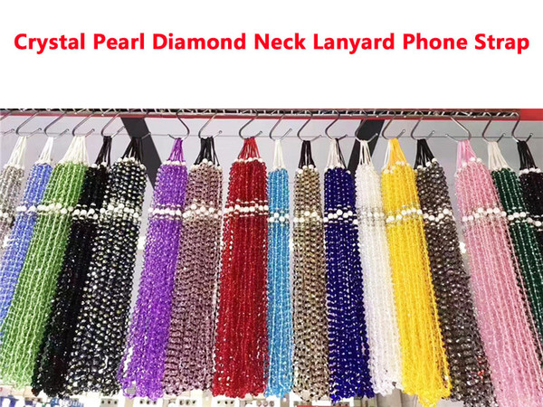 Universal Neck Lanyard Crystal Pearl Diamond Universal Mobile Phone Strap Sling Hanging Portable Mobile Phone Rope For iPhone Samsung Straps