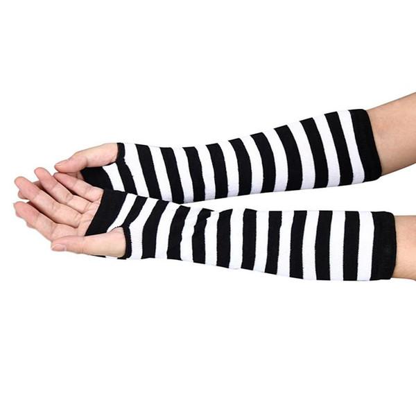 Unisex Winter Long Gloves Women Men Fashion Striped Knitted Fingerless Gloves Women Arm Warmer Glove Mittens Femm