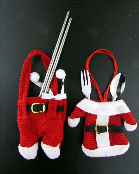 Chirstmas Geschirr Halter Messer Gabel Abdeckung Fall Weihnachtsmann Hosen Design Tasche Taschen Xmas Party Tischdekoration Messer Löffel Kleidung
