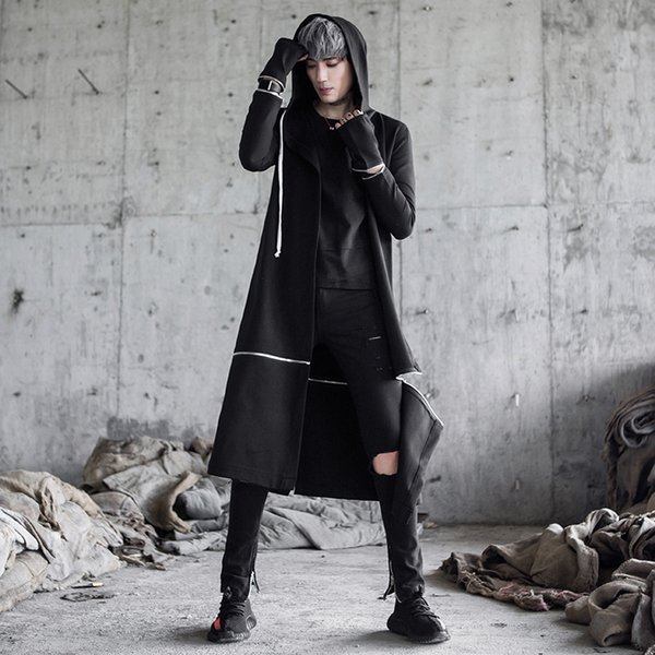 Homens punk hip hop trincheira longo jaquetas cantora boate preto traje mens gótico casaco com capuz casaco casaco coreano removível