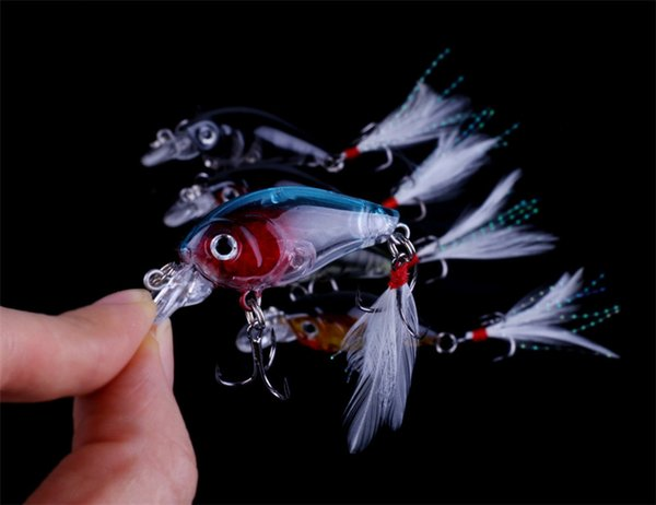 Wholesale Hot sale 5pcs Mini Crankbait Lure Fishing Lures 4.5CM 4G 10#hooks Hard Bait Minow Fishing lures Floating Bass Bait free shipping
