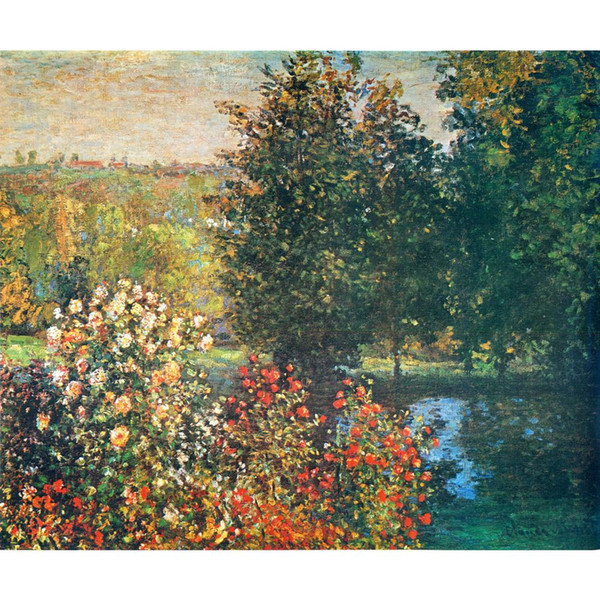 Hand painted Landscapes art Roses in the Hoshedes Garden at Montregon Claude Monet oil paintings for Home decor