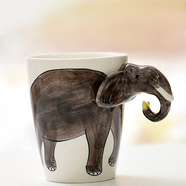 Çevre Dostu 3d Seramik Kupalar El -Painted Kupası Kişilik Saf Hayvan Maymun Köpek Kupası Karikatür Mug Coffee Cup Noel Hediye Boyalı