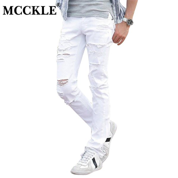 MCCKLE Fashion White Ripped Jeans Men Skinny Distressed Denim Joggers With Holes Torn Destroyed Jean Pants Male Brand Designer S913