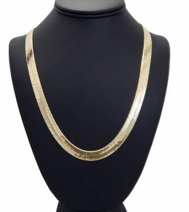 "Mens Flat Herringbone Chain 14K Gold Plated 9mm 24"" Necklace"