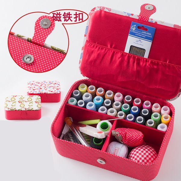 Wedding Fabric Sewing Box Home Wedding Dowry Sewing Kit 33 Stitching Needle Tape Scissor Multifunction Threads