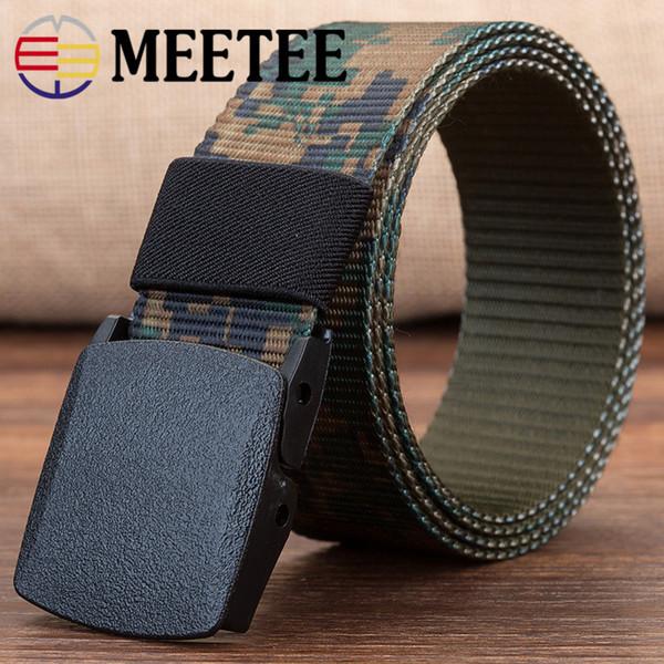 Canvas belt men canvas belt outdoor leisure nylon plastic buckle security anti-metal allergy belt