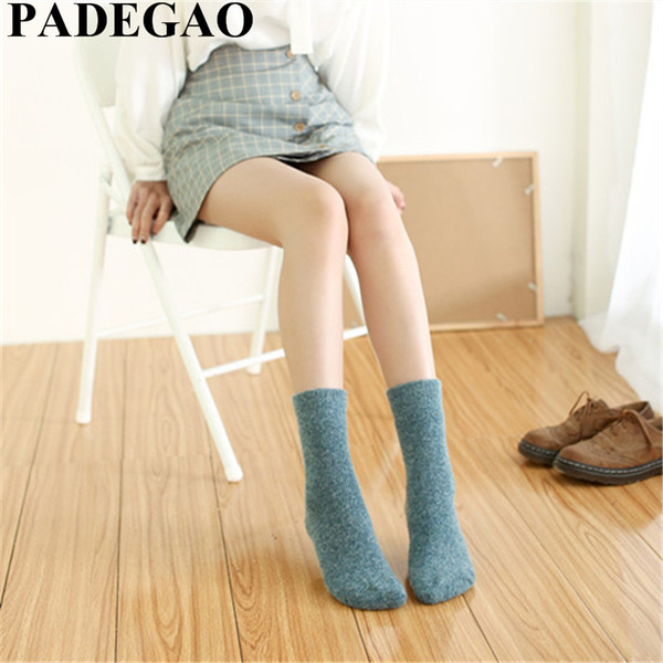 wool socks Winter women's pure colored barrel cashmere socks Wool loop thick towel Warm