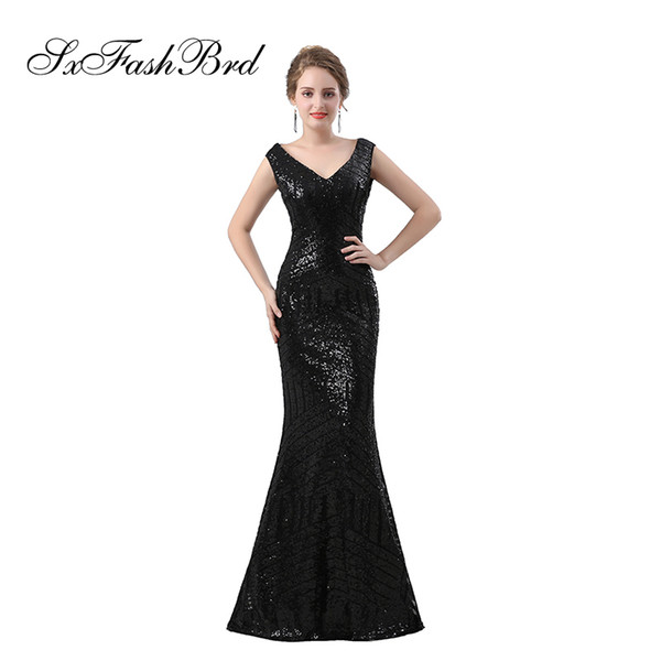 cd1c7b9519 Fashion Elegant Dress V Neck Mermaid Black Sequin Lace Long Party Formal  Evening Dresses For Women Prom Dress Gowns Evening Dresses For Tall Women  ...