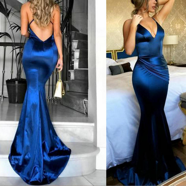 prom dresses mermaid prom dresses gold New Mermaid V Neck Shirt Dress Long Sexy Prom Dresses DK204
