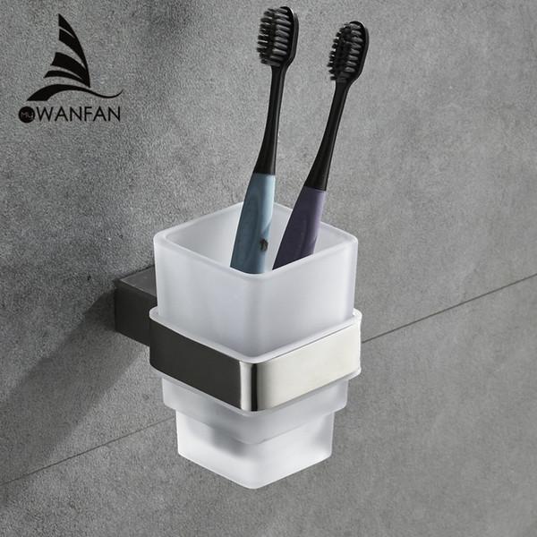 Copo Tumbler Suportes Contemporâneos SUS304 Aço Inoxidável Escova De Dentes Titular Cerâmica Acessórios Do Banheiro Suporte De Copo De Parede 610002