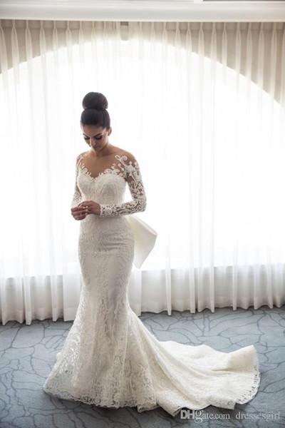2018 Dubai arabe dentelle sirène robes de mariée Sheer Neck manches longues avec des robes de mariée train détachable Robes de mariée robes de mariée