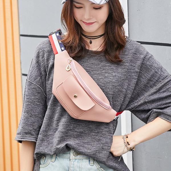 Korean Verson Fashion Trends Candy Color Bum bag VISON&JOHNSON Chest+Waist+Shoulder PU Leather bag Pink Bolso sac banane Femme