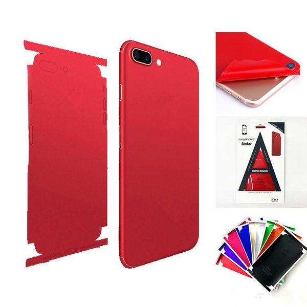 Para iphone x Skins Pegatinas Cuerpo completo Mate Protector de pantalla para la parte posterior impermeable de la piel Cubierta para iphone x 7 8 plus 6 6s más 11 colores