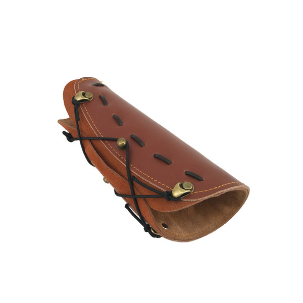 Doppia cintura in pelle marrone regolabile con arco per il tiro con il braccio regolabile con bretella regolabile protezione arco e freccia in pelle accessori