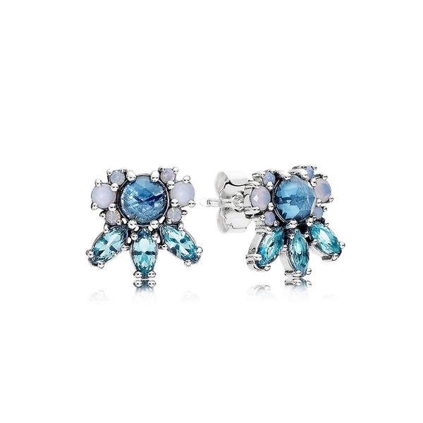 CHAMSS 100% 925 Sterling Silver 290731NMBMX Patterns of Frost Stud Earrings Ear Studs Vintage Original Wedding Jewelry