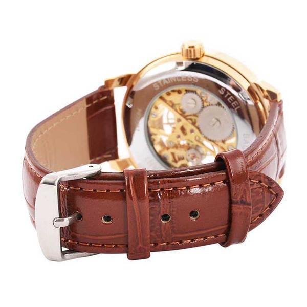 2018 Men Mechanical Watch Winner Luxury Steel Semi-Automatic Classic Skeleton Leather Band Wristwatch Relogio Masculino