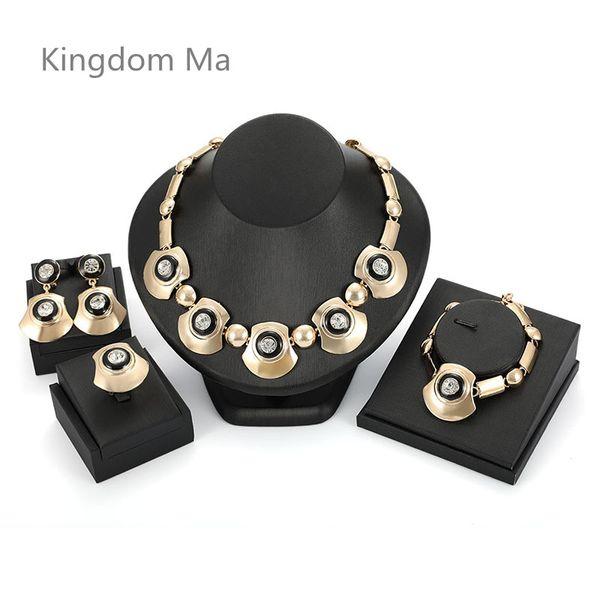 Kingdom Ma Mais Recente Moda Beads Africanos Conjuntos de Jóias de Casamento Nupcial de Cristal Strass Cor de Ouro Declaração de Jóias Traje