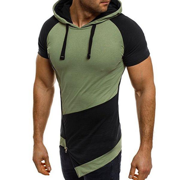 European and America Trend Hooded Short Sleeve Sweatshirt Men Oblique Zipper Design Colorblock Fashion Hoodies Men Green Blue