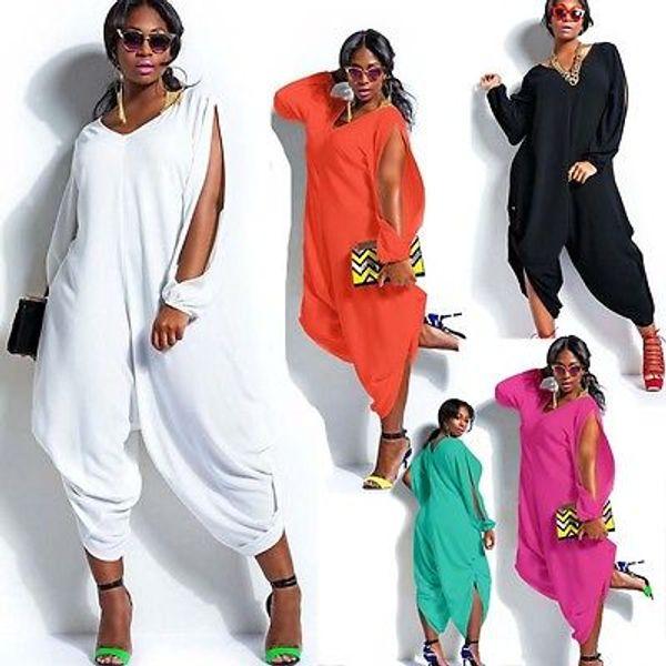 Women Hot Long Sleeve Chiffon Romper Baggy Harem Jumpsuit Plazzo Plus Size