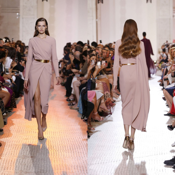 2019 Long Sleeve Prom Dresses Elie Saab Tea Length Side Split Pleats Evening Gowns With Wrap Top Quality Designer Dresses Women Formal Wear