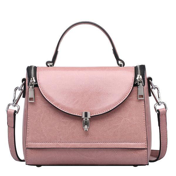 2018 Fashion New Genuine Leather Female Top-handle Handbag Wax Oil Cowhide Women Satchel Shoulder Crossbody Multifunction Bag