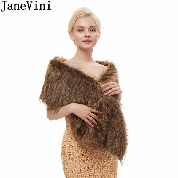 JaneVini Fashion Womens Sleeveless Bridal Wraps Winter Warm Faux Fur Bridal Bolero Bride Fur Wedding Boleros Women Jacket Shawl Stoles