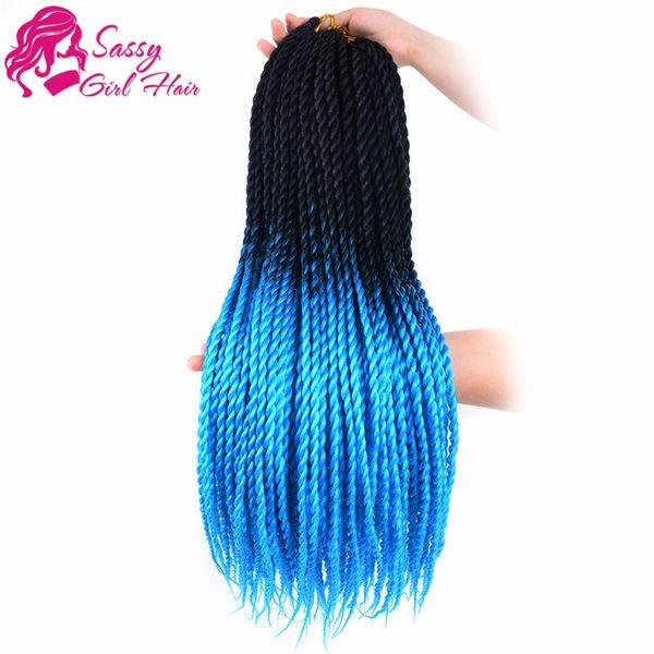 "5Packs 24"" Twist Crochet Hair Mambo Twist Senegalese Crochet Braids Braiding Hair (Black-Sky Blue) SASSY GIRL"