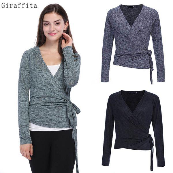 Giraffita Women Knitted Sexy V Neck Sweater Knitted Wrap 2017 Autumn Warm Slim Crop Top Blouse