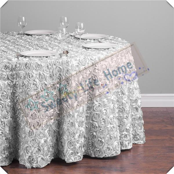 Wholesales price Free shipping 5pcs 3D Satin Rosette table cloths/Silver Wedding Rose table cover tablecloths/305CM round cloth