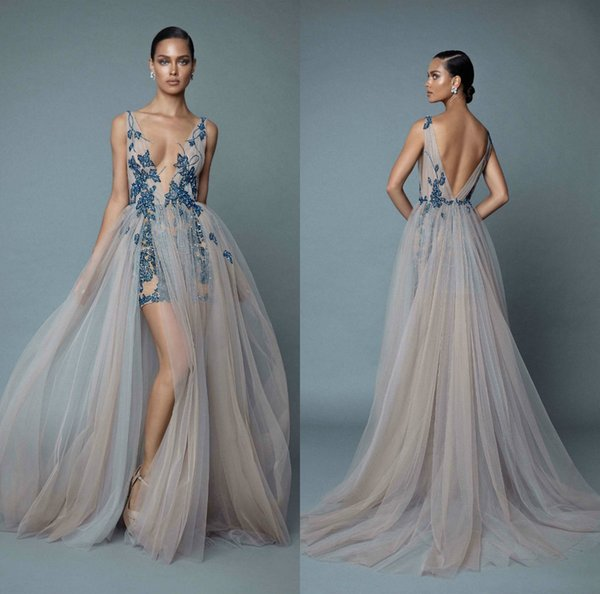 2019 Berta Evening Dresses Deep V Neck Illusion Side Split Appliqued Lace Beads Sexy Prom Dress Party Wear Custom Made Formal Occasion Gowns