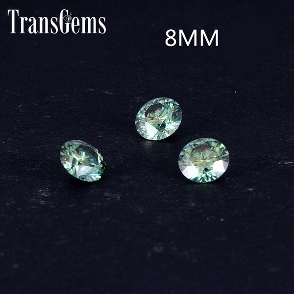 TransGems 8mm 2Carat Green Color Certified Man made Diamond Loose moissanite Bead Test Positive As Real Diamond Gemstone 1pcs S923
