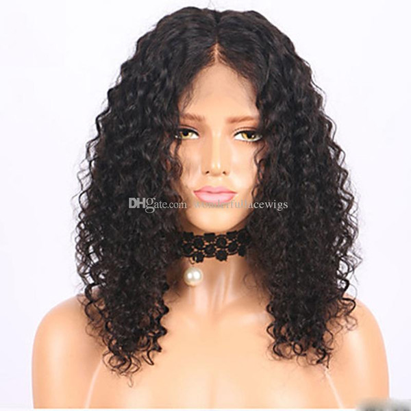 cheap Hot sales synthetic Afro kinky curly lace front wig heat resistant sexy natural black short hair cut women wigs in stock