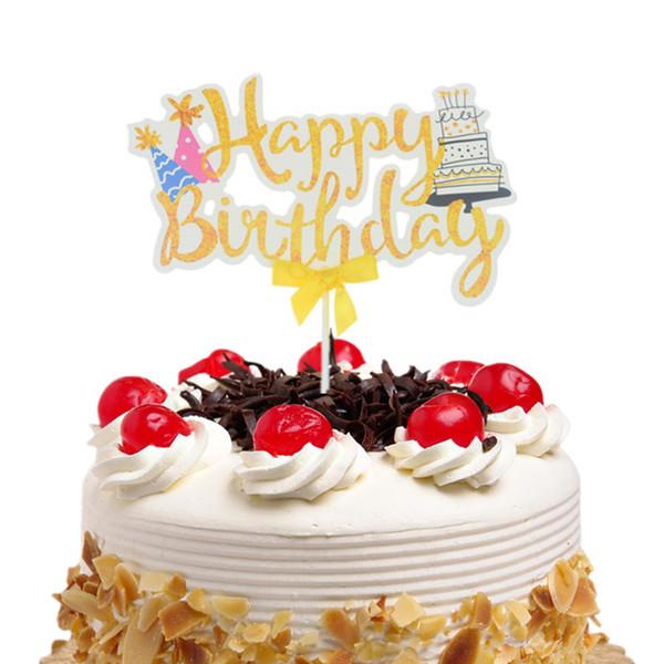 20шт торт Ботворезы флаги дети с Днем Рождения шляпа лук-узел кекс торт Топпер свадьба невеста партии Baby душ выпечки DIY декор