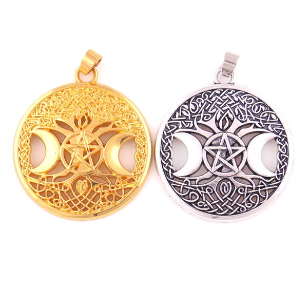 best selling Triple Moon Goddess Wicca Pentagram Magic Amulet Pendant Women Tree Moon Pendants Vintage Jewelry