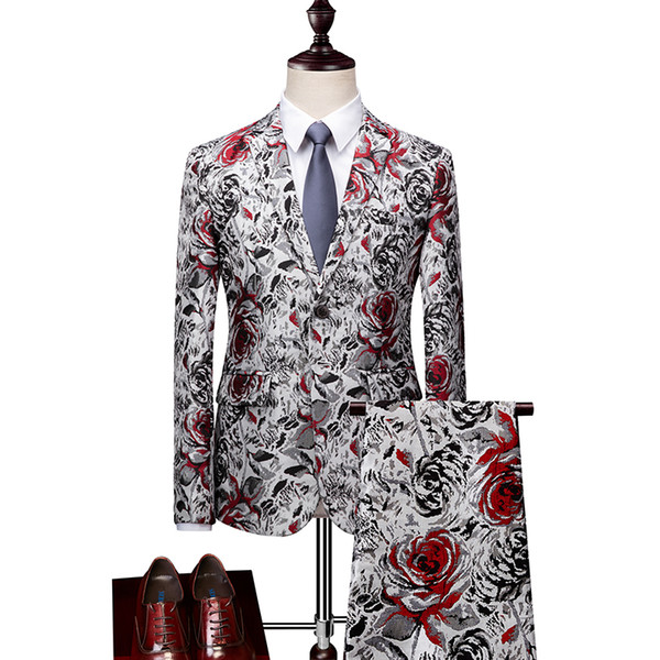 Latest Design Print Casual and Elegant Bearing Party Suits For Men Single Button Notched Collar Groom Tuxedos 2 Piece (Jacket+Pant)