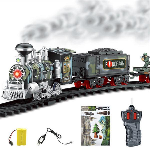 Traffico dei nuovi bambini di RC treno Giocattoli telecomando Conveyance auto elettrica Fumo Vapore RC treno Slot Set modello giocattolo per il capretto regalo