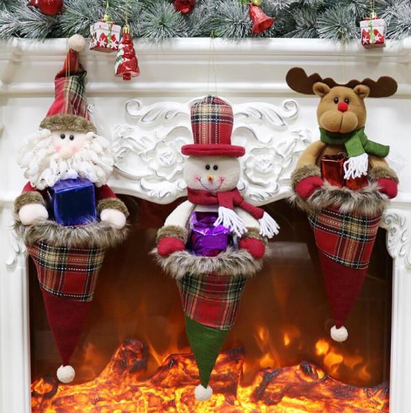 Forma de sombrero de navidad Medias de navidad Niños Bolsas de dulces grandes Bolsa de regalo Árbol de navidad Ornamento colgante Calcetines Decoración de navidad