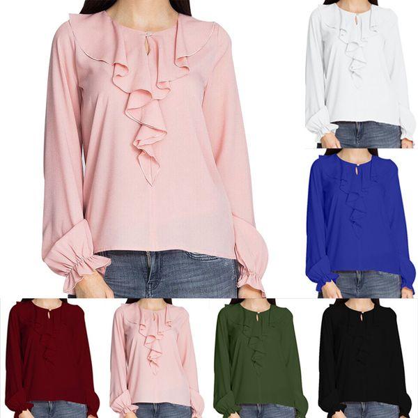 Women Petal Collar A Button Sweet Long Sleeved Loose Chiffon Shirt Lady Fashion Tops Plus Size 5XL Blouse