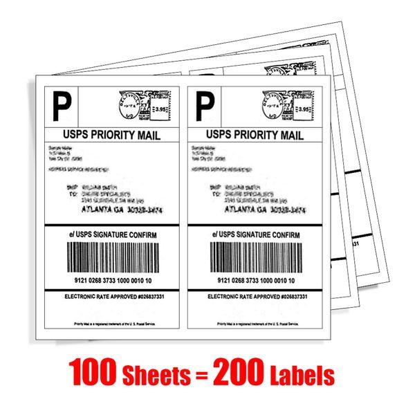 MFLABEL 200 Half Sheet Self Adhesive Shipping Labels for Laser & Inkjet Printers 5-1/2
