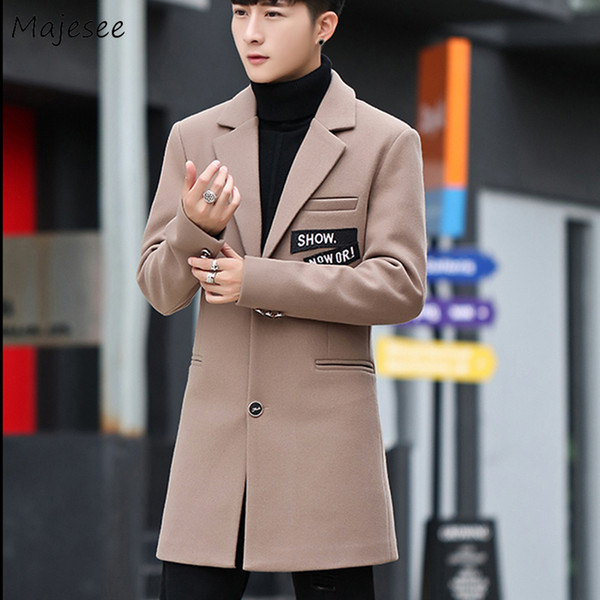 Wool Men Coat Letter Slim Korean Turn-down Collar Mens Coats Plus Size Single Breasted High Quality Chic Woolen Overcoat Warm