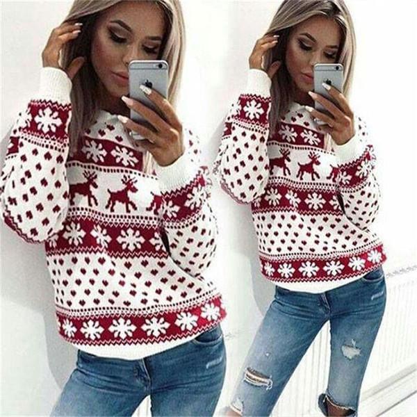 Mujeres Día de Navidad Ciervos Impreso Lady Jumper de Punto Suéter Pullover Tops Abrigo Cálido Breve Ropa Casual