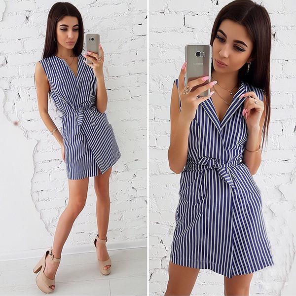 2018 Summer New Ladies Stripe Print Dresses Casual con cuello en V sin mangas Vestido suelto Ropa de oficina Ropa de mujer Vestidos femeninos