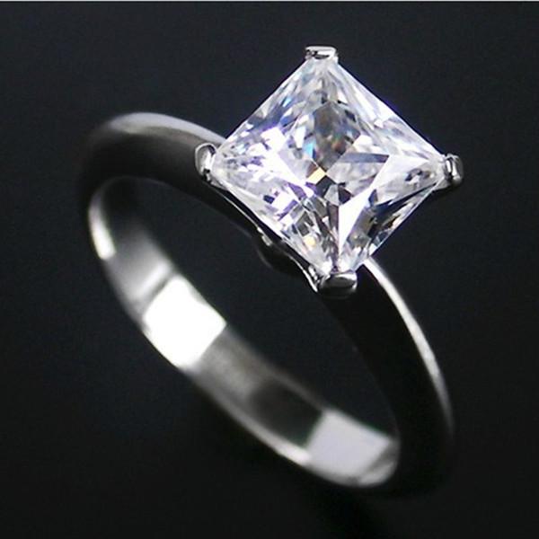 Solitaire 2CT Princesse Cut Synthétique Diamant Bague De Mariage 925 Anneaux En Argent Sterling pour Femmes Classique Anniversaire Bijoux Platine Plaqué