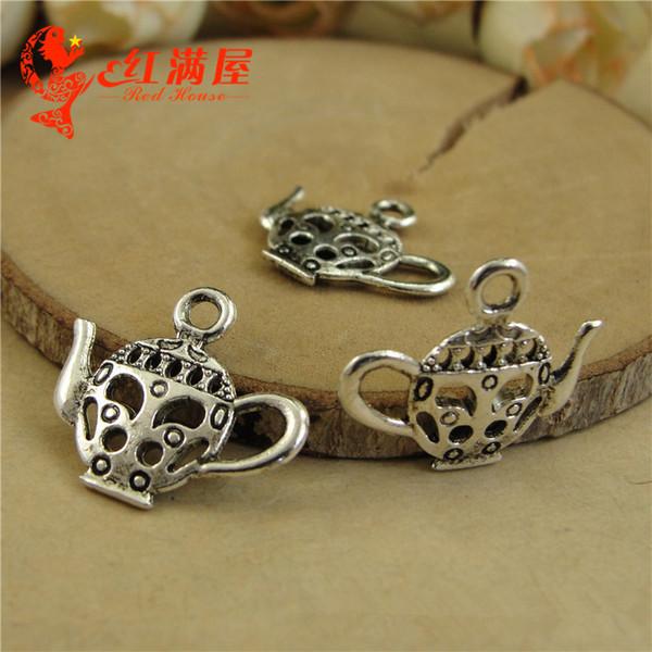 5 pezzi charm teiera in metallo colore argento misura  1,5 x 1,1 x 0,7 cm