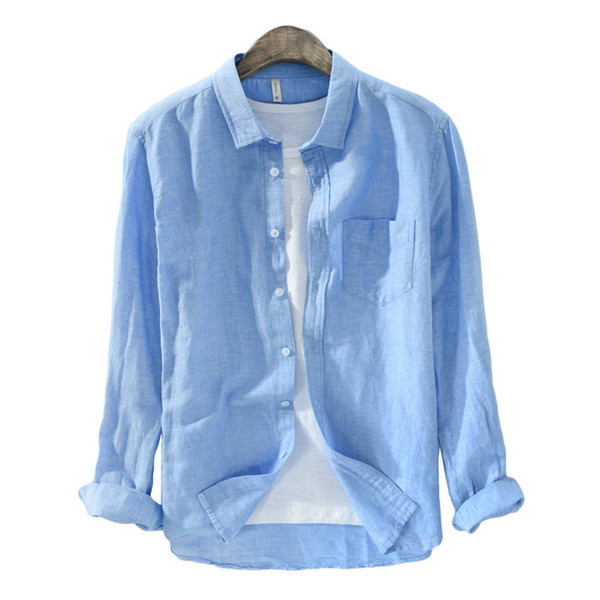 Titmsny Erkekler Pamuk ve Keten Casual Slim Gömlek Streetwear Uzun Kollu Katı Renk Beyaz Mavi Gömlek Kaliteli 2018 Moda