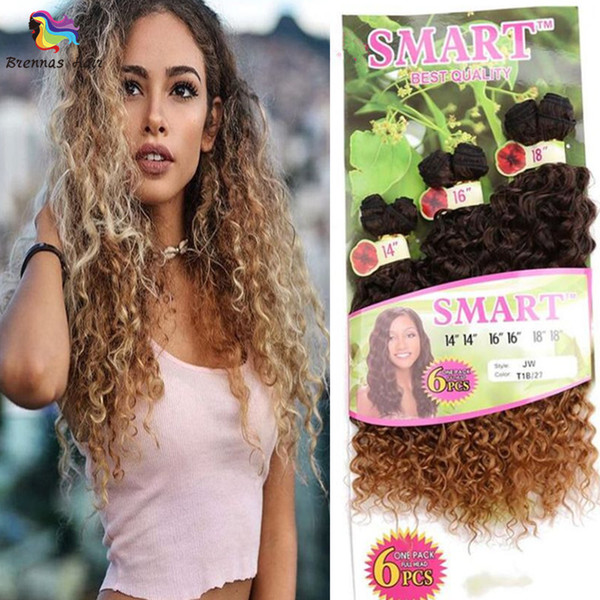 6pcs/pack for full head high quality synthetic hair extension jerry curly deep wave hair bundles ombre brown 1b bug ombre purple