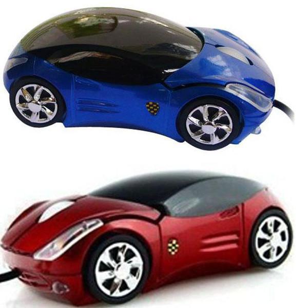 2018 marque nouvelle vente chaude mode rouge / bleu mini voiture 3D forme USB optique souris filaires souris pour PC / ordinateur portable / ordinateur en gros