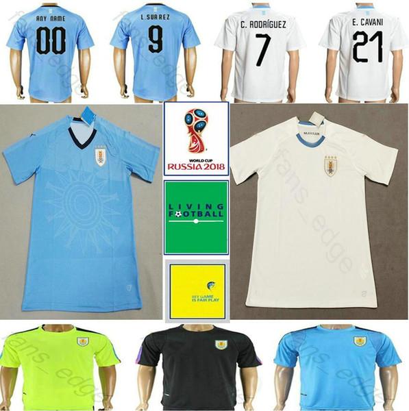 3e2914305 2018 World Cup Uruguay Soccer Jerseys 9 L.SUAREZ 10 DE ARRASCAETA 21  E.CAVANI GODIN RODRIGUEZ MAINDEZ Customize Blue White Football Shirt